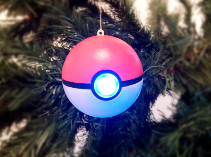 Pokebauble Top Hemisphere 3d printed Pokeball bauble on the Christmas tree!