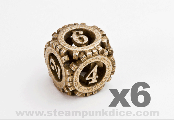 Steampunk Gear 6d6 Set 3d printed Stainless Steel