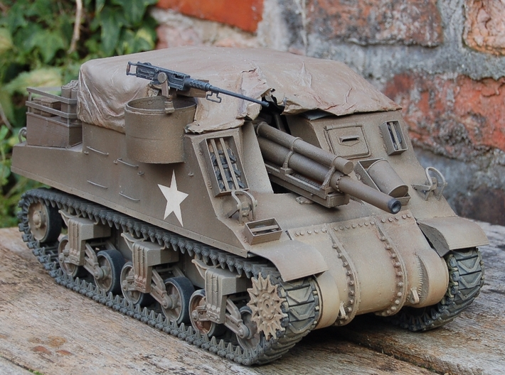 1/16 Heng Long M4 Sherman Three Piece Transmission 3d printed Finished part on a M7 Priest (which uses the HL M4 lower hull). This was printed on my printer (Duplicator 4x).