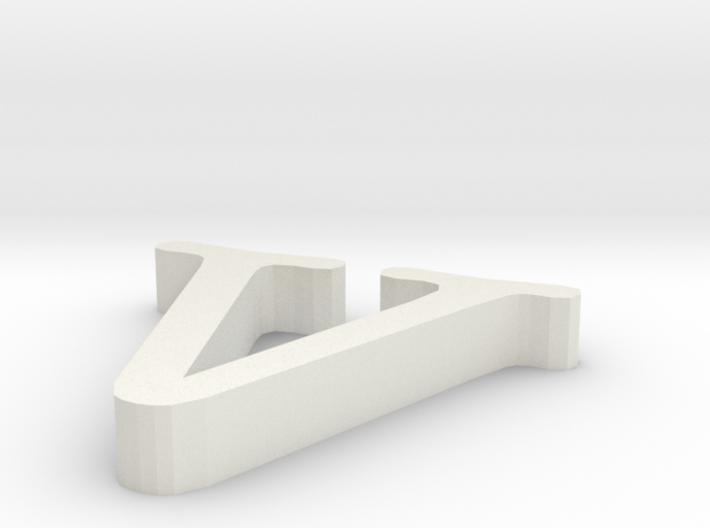 V letter 3d printed
