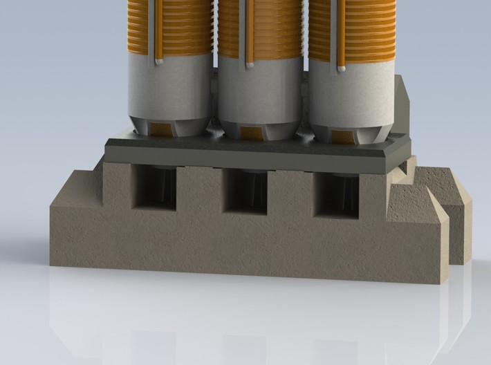 1/400 Delta IV Heavy with Orion Service Module 3d printed A CAD render showing the baseplate/pad from the front.