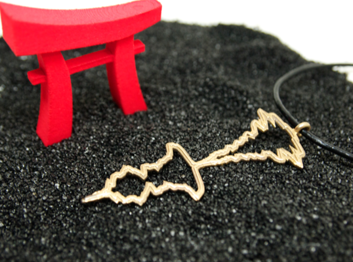 """Japanese """"I Love You"""" Sound Wave Pendant 3d printed Pendant in Raw Bronze with Pocket Torii in Background"""