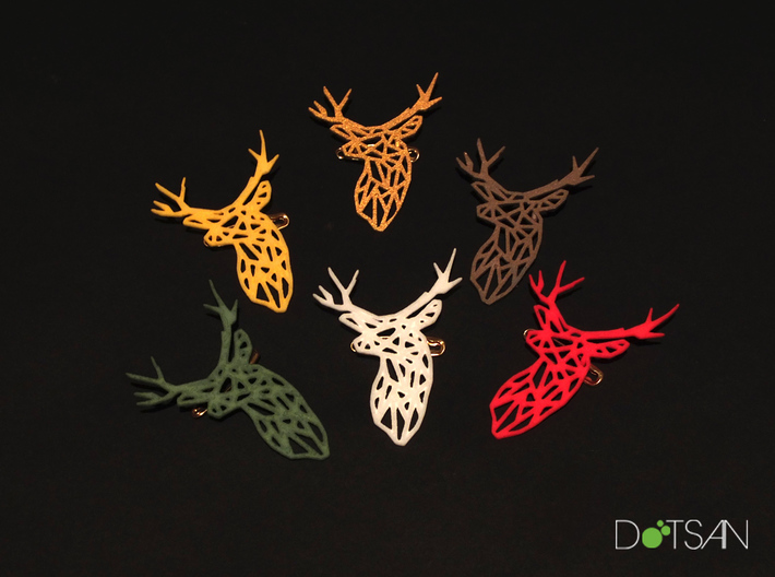 Stag Trophy Head Pendant Broach 3d printed
