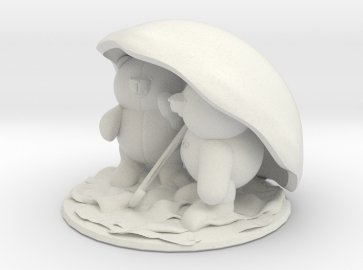 Bears under umbrella 3d printed