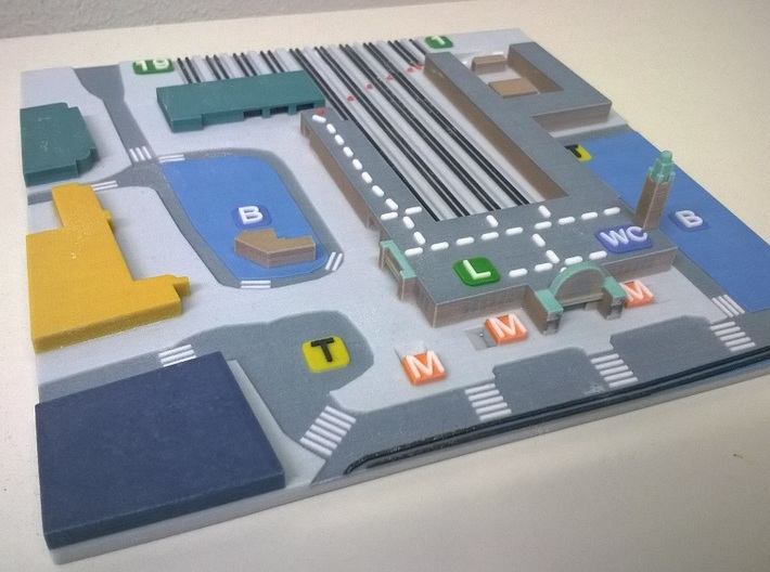 Railway station Helsinki Tactile map 3d printed