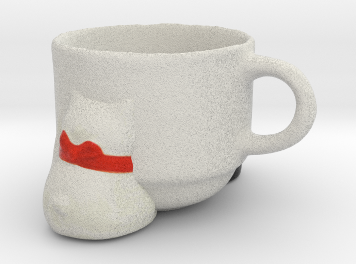Teacup with Welcoming Cats 3d printed