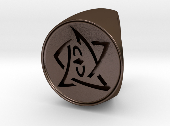Elder Sign Signet Ring Size 12 3d printed