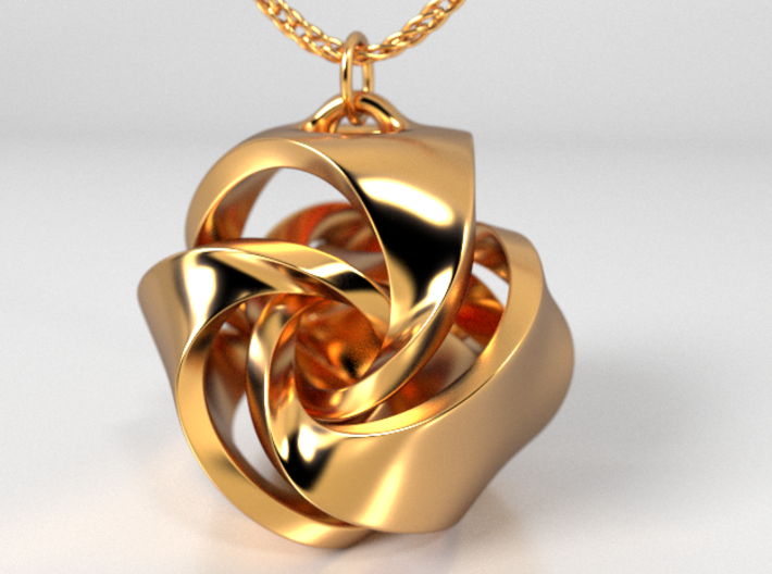 Rose Ball Pendant With Bail 20mm 3d printed Gold Plated Brass