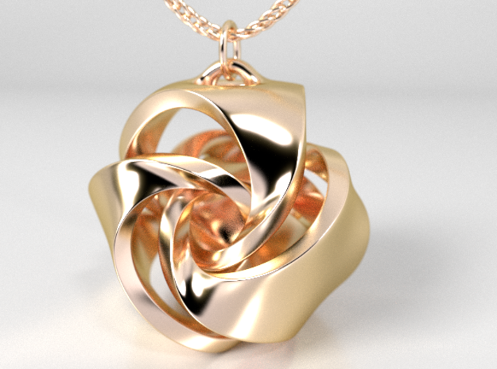 Rose Ball Earring / Pendant With Bail 15mm 3d printed 14K Gold