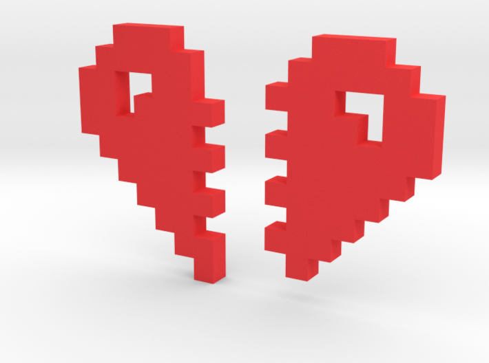 2 Halfs of an 8 Bit Heart (Pixel Heart) 3d printed