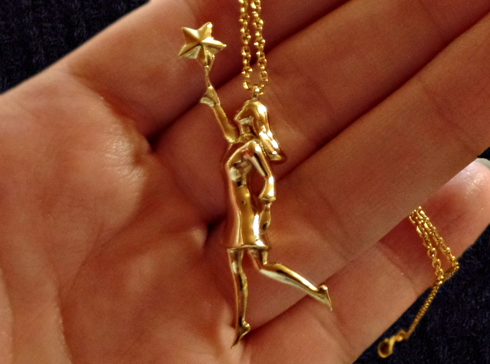 Reach the Stars 3d printed Printed in Polished Brass