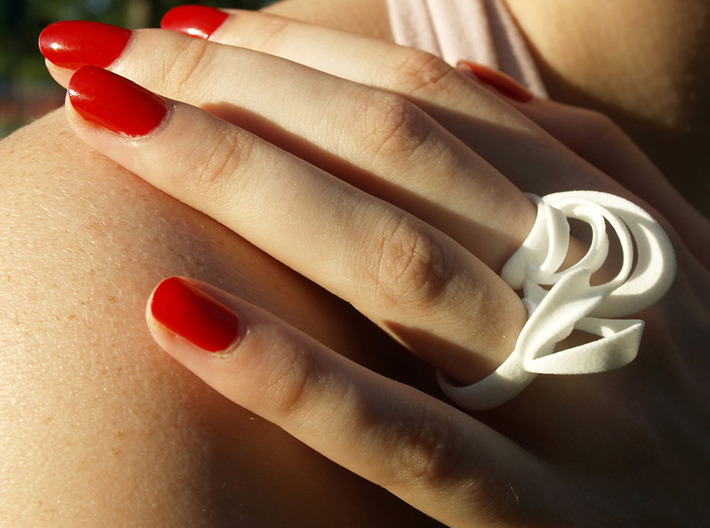 Ribbon Double Ring 6/7 3d printed White