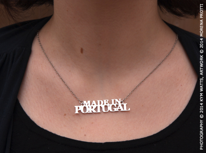 Made in PORTUGAL Pendant 3d printed Polished Silver, chain not included