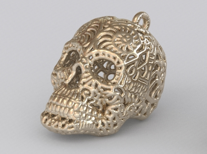 Filigree Sugar Skull Pendant 1 3d printed