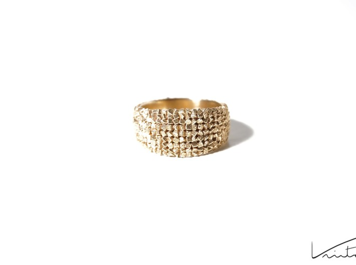 Thousand Cubes ring 3d printed Raw Brass