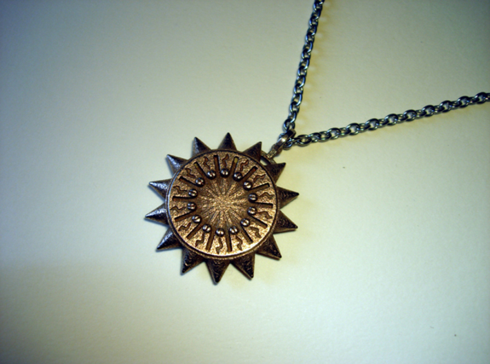 Steampunk Spiked Sun Pendant 3d printed Stainless Steel - Photo of printed item (chain not included)