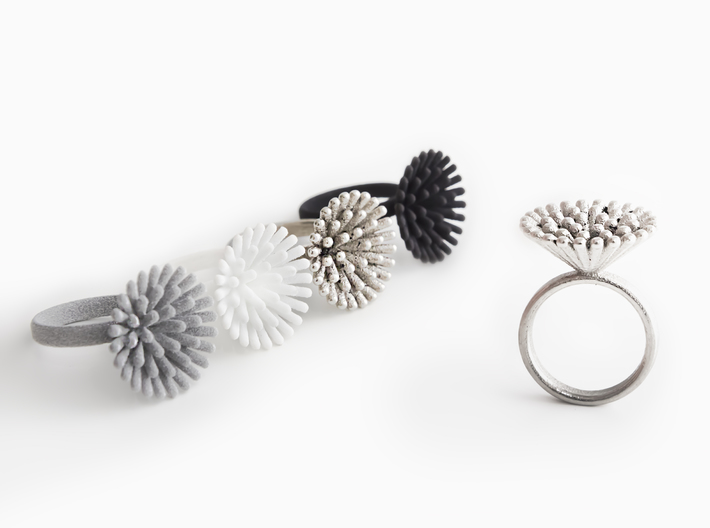 Spike Ring - US 7 size 3d printed Metallic Plastic, Strong & Flexible Plastic White Polished and Black, Polished Nickel Steel