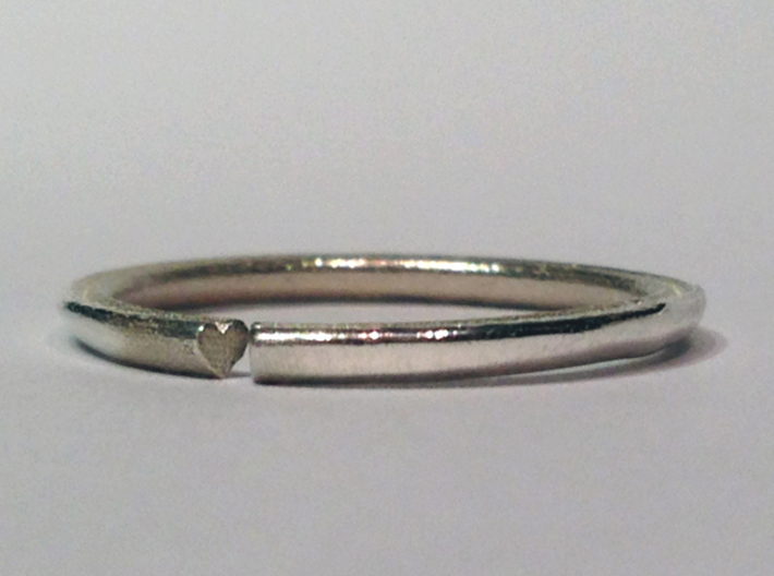 Secret Hidden Heart Ring (Size 4) 3d printed Polished silver :)