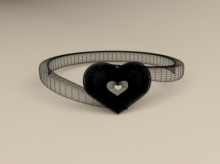 Heart of ruby ring 3d printed wireframe