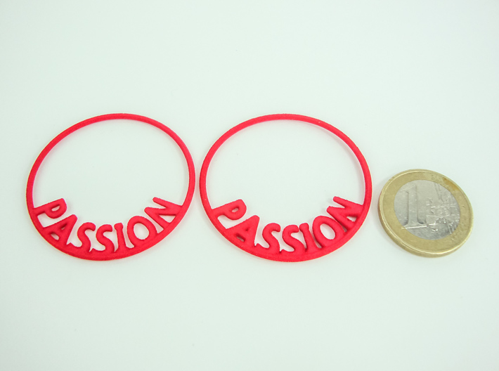 Custom Hoop Earrings - Passion 40mm 3d printed Custom Text Hoop Earrings printed in Red Strong & Flexible Polished and 1€ coin for scale.