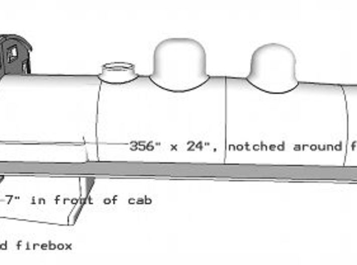Florida East Coast 4-6-2 boiler and wood cab - HO 3d printed Right hand running board dimensions