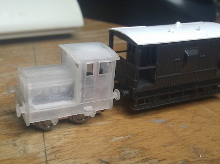 """Ruston 48DS N scale. About 6"""" (1mm) wider than acc 3d printed Unpainted with mechanism"""