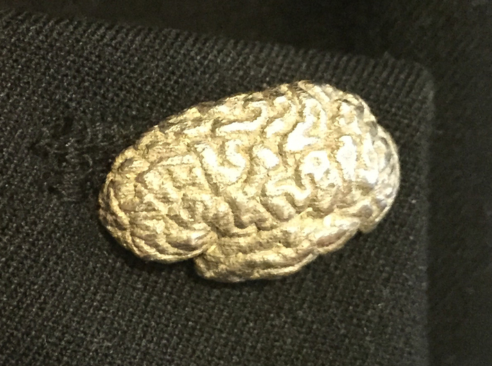 Brain Cufflinks (Two Hemispheres) 3d printed On jacket cuff
