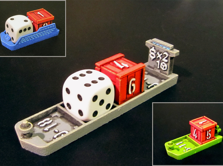 Dice / Crates (9 pcs) 3d printed Picture showing compatibility with various ships (12mm regular die for scale).