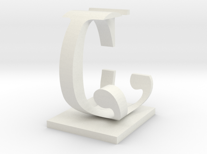 Two way letter / initial C&J 3d printed