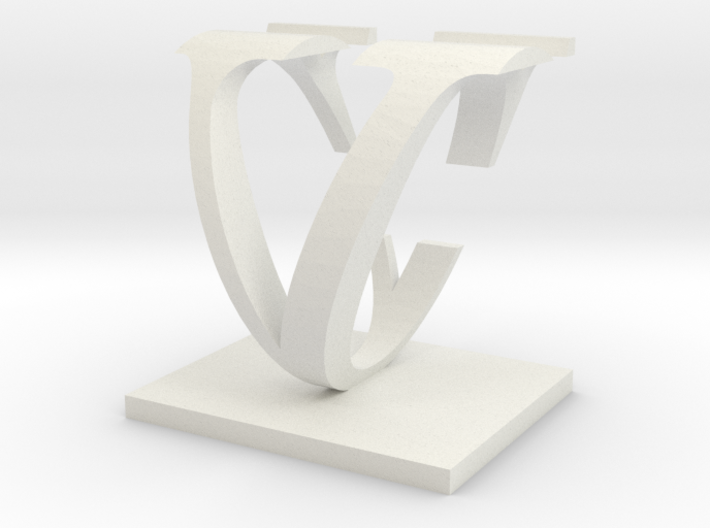 Two way letter / initial C&V 3d printed