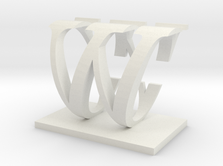 Two way letter / initial C&W 3d printed
