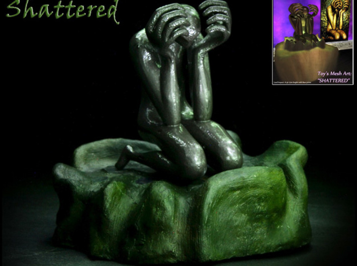 """Shattered"" Statue 3d printed Shattered On Display on stand - 1st print using ABS and personal 3D printer"
