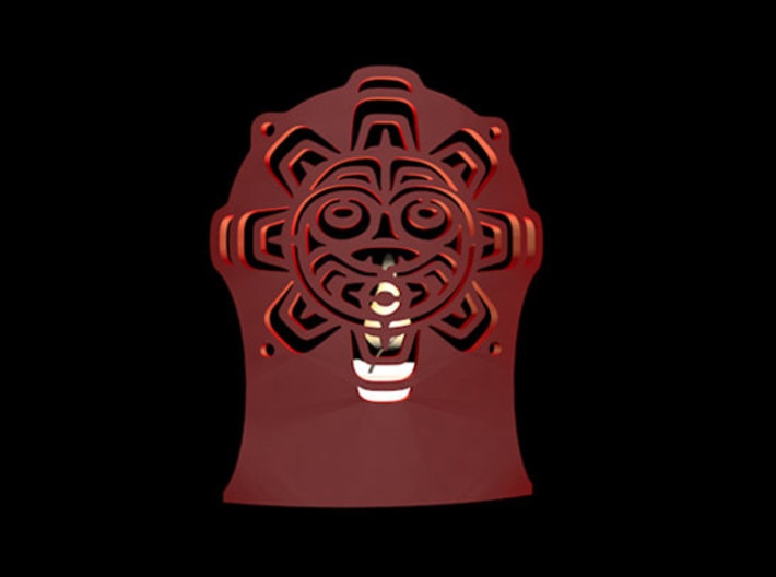 Northwest Design Sun Mask Tea Light Holder - Tall 3d printed Sun Mask Tealkight front view in red