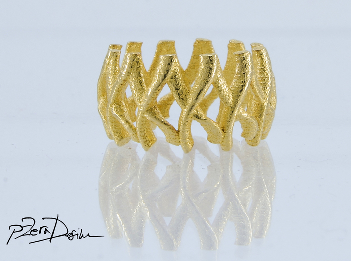 Simple Mesh Ring / Gold Mesh Ring 3d printed