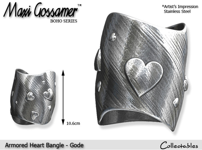 Armored Heart Bangle - Gode 3d printed