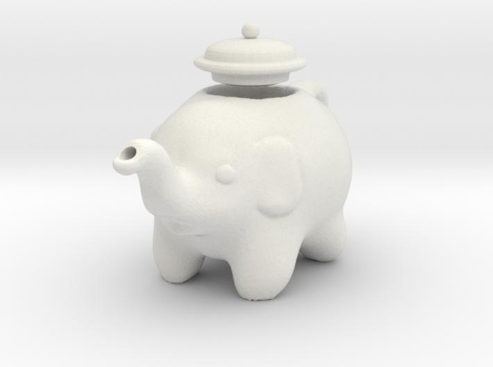 Tiny White Elephant Teapot 3d printed