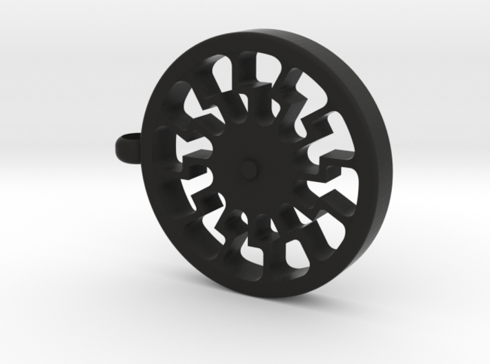 "Black Sun ""Gear"" Pendant 3d printed"