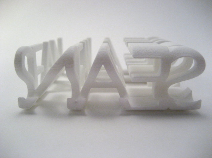 2-Way Word Sculpture 3d printed As viewed from the right