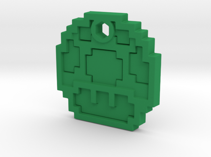 Mario Mushroom 1up Necklace 3d printed