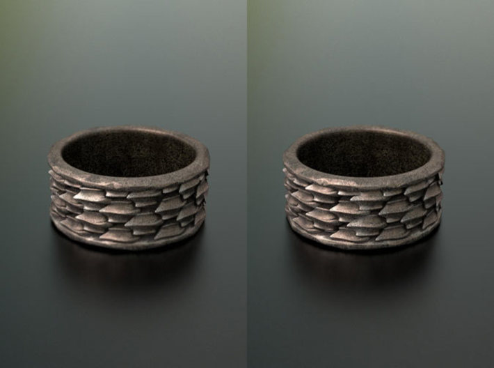 Shark Skin ring: size 7 (US) O (UK) 3d printed Add a caption...