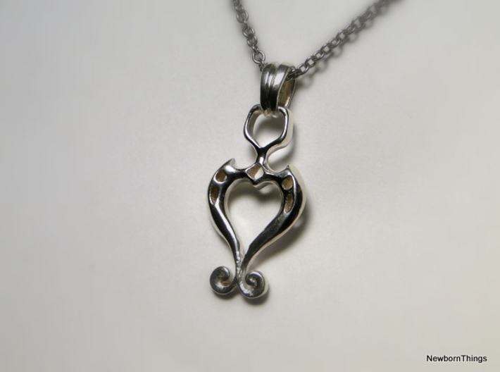 Pendant Higher Love V02 3d printed Romantic Pendant with Heart - Chain not included