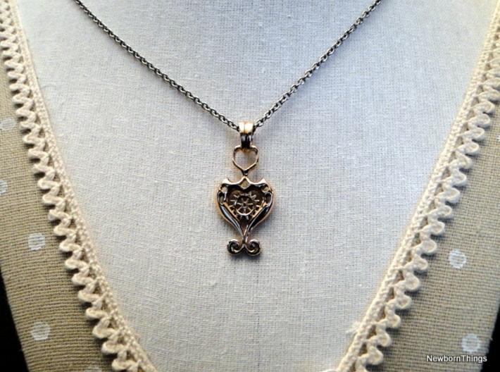 Pendant Higher Love V03 Steam 3d printed Romantic Pendant with Heart & Gear -Chain not included