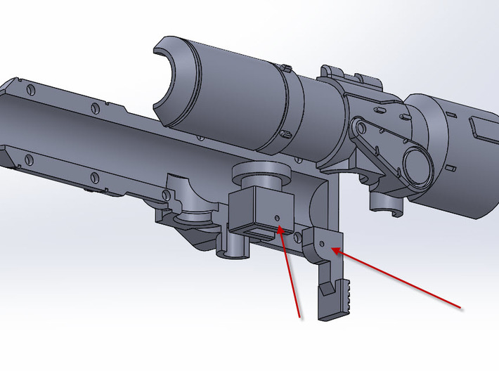 Brawn Cannon 3d printed Hole that will need to be modified and a paper clip installed.