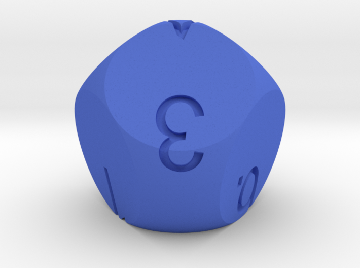 D7 numbered from 0 to 6 3d printed