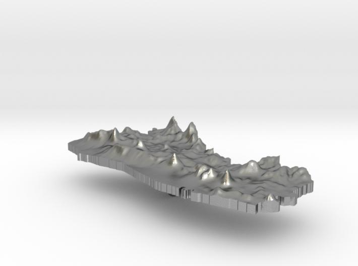 El Salvador Terrain Silver Pendant 3d printed