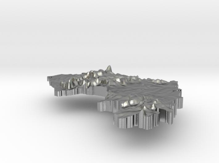 Guinea Terrain Silver Pendant 3d printed