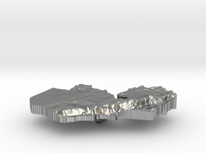Zambia Terrain Silver Pendant 3d printed