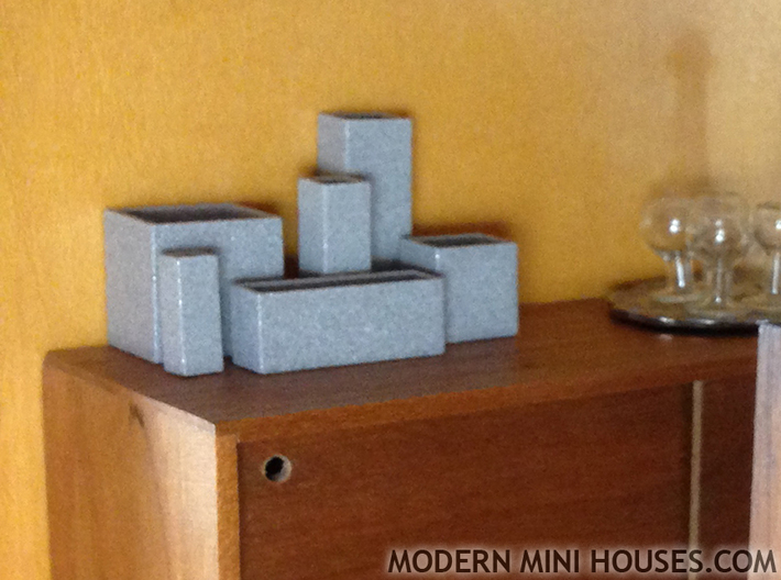 Cityscape 6-piece set of dollhouse vases 3d printed Polished Metallic Plastic