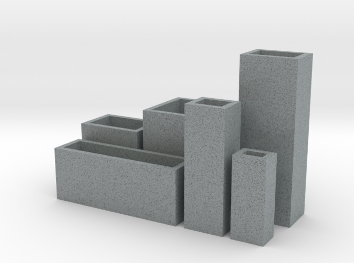Cityscape 6-piece set of dollhouse vases 3d printed