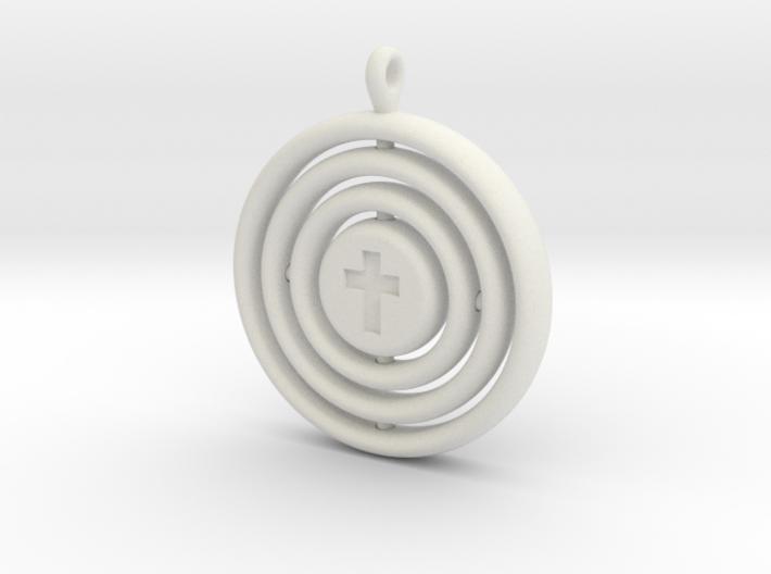 Orrery cross pendant 3d printed